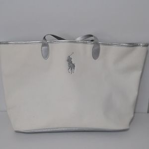 Ralph Lauren Polo Large Tote Bag Silver White